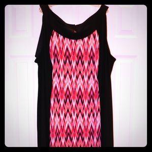 Pink, semi-Chevron maxi dress from Catherine's